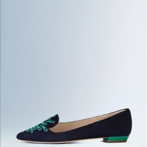 Boden Peacock Embroidered Suede Pointed Flats